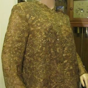 jh Collection Brown Sheer Cover Top XL